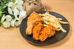 Fresh fried, chicken strips. On table Royalty Free Stock Image
