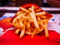 Fresh fried french fries stock images