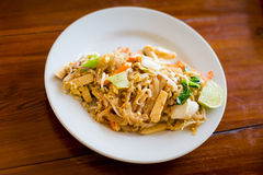 Fresh fried Pad thai. Picture of traditional thai cuisine made of fresh ingredients taken in streetfood restaurant stock image