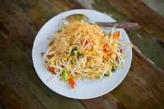 Fresh fried Pad thai. Picture of traditional thai cuisine made of fresh ingredients taken in streetfood restaurant royalty free stock photos