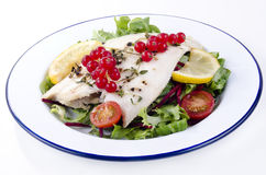 Fresh fried plaice with fresh salad and tomatoes Stock Photo