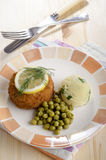 Fresh fried trout fishcake on a plate royalty free stock photography
