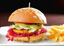 Fresh and fried vegetarian/fish burger Royalty Free Stock Images
