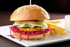 Fresh and fried vegetarian/fish burger Stock Photo
