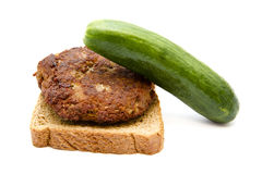 Fresh Frikadeller with toast and Green Cucumber Royalty Free Stock Photography