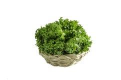 Fresh frillice iceberg lettuce in rattan basket. Green fresh frillice iceberg lettuce in rattan basket Stock Photography