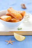 Fresh frozen fish fingers Royalty Free Stock Photography