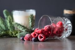 Fresh frozen raspberries and blueberries in a glass. royalty free stock photos