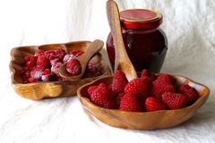Fresh and frozen raspberry Royalty Free Stock Images