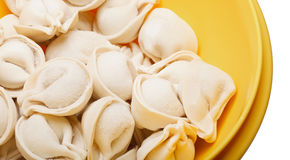 Fresh frozen ravioli on the white background Stock Photography