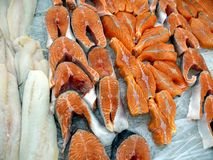 Fresh frozen red fish trout and lox. Royalty Free Stock Photography
