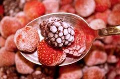Fresh frozen strawberries and raspberries Stock Image