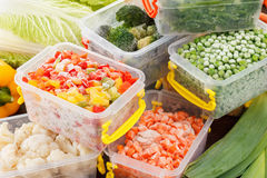 Fresh frozen vegetables food. In plastic containers. Healthy freezer food and meals Stock Photos