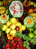 Fresh fruit. An assortment of fresh fruits inclusding a carved watermelon Royalty Free Stock Photos
