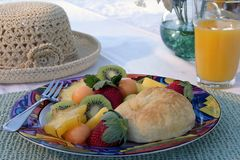 Fresh fruit. Healthy morning brunch of kiwi's,star fruit,strawberries,pinapple, and others stock photo