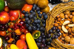 Free Fresh Fruit And Nuts. Assorted Fruits Colorful Background. Royalty Free Stock Photography - 119888317