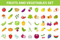 Fresh Fruit And Vegetable Icon Set, Flat, Cartoon-style. Berries And Herbs On White Background. Farm Products Stock Image