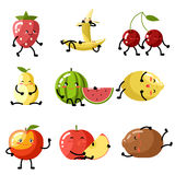 Fresh fruit apple cherry watermelon kiwi Stock Images