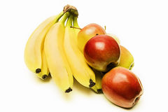 Fresh fruit. Fresh apples and bananas on a white background Stock Images