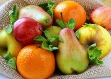 Fresh Fruit Apples Pears Tangerines Stock Photography