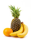 Fresh fruit - banana, grapefruit, pineapple Royalty Free Stock Photo