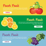 Fresh fruit banner. 3 banner for fruit or healthy lifestyle. eps 10 file, with no gradient meshes,blends,opacity, stroke path,brushes.Also all elements grouped vector illustration