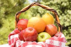 Fresh fruit in a basket Royalty Free Stock Photo