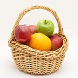 Fresh fruit in basket. Isolated Royalty Free Stock Image