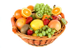 Fresh fruit in the basket Royalty Free Stock Photos