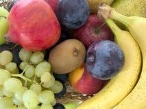 Fresh fruit basket closeup detail. Many colours. Stock Photos
