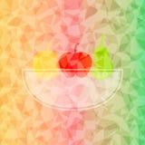 Fresh fruit basket on dazzled triangle background Stock Photo