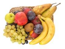 Fresh fruit basket isolated on white background. Royalty Free Stock Image