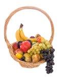 Fresh fruit basket isolated on white background. Stock Images