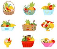 Fresh fruit in baskets, containers and vases set, healthy lifestyle and diet concept vector Illustration on a white. Fresh fruit in baskets, containers and vases Stock Image