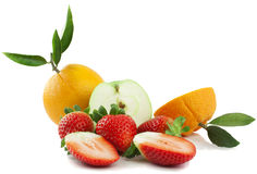 Fresh fruit and berries. On a white background Stock Image