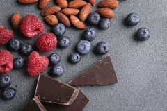 Fresh Fruit Berries Chocolate and Nuts Stock Photography