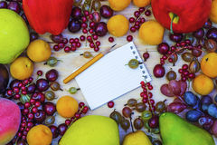 Fresh fruit and berries in a frame Royalty Free Stock Photos