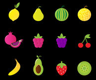 Fresh Fruit & berries icon set isolated on black Royalty Free Stock Image