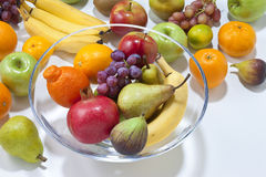Fresh Fruit With Bowl Stock Images