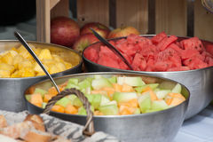 Fresh fruit bowls Royalty Free Stock Photos