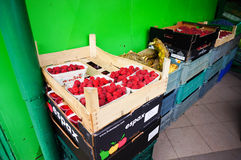 Fresh fruit. In boxes for sale Stock Image
