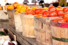 Fresh Fruit buckets. Tomatoes Bell Pepperss Royalty Free Stock Photos