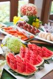 Fresh fruit on buffet line Stock Photos