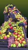 Fresh fruit bulk. Fresh fruit in wooden boxes abundance bulk mere pere struguri decoration ornament scene stock photography