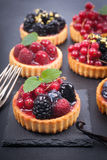 Fresh fruit cakes royalty free stock images