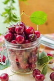 Fresh fruit cherries jar for products processed Royalty Free Stock Photo