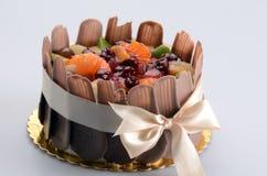 fresh fruit and chocolate cake Royalty Free Stock Image