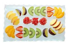 Fresh fruit close up. Mixed fresh fruit on a glass plate Stock Images