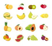 Fresh fruit collection for summer time. Fresh summer fruit set on blank background ready to use separately royalty free illustration
