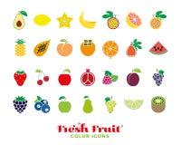 Fresh fruit color icon collection Stock Photos
